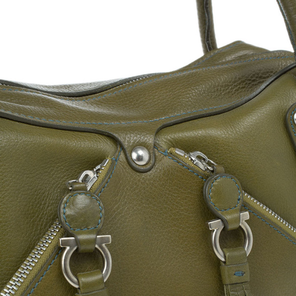 Salvatore Ferragamo Green Leather Satchel