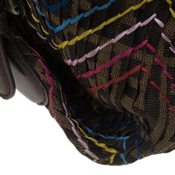 Fendi Multicolor Thread Zucca Canvas Doctor Hobo