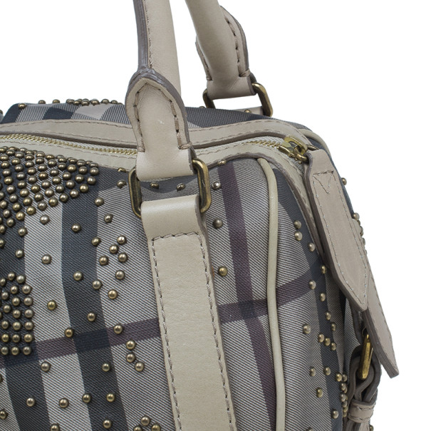 Burberry Grey Leather Heart Studded Satchel
