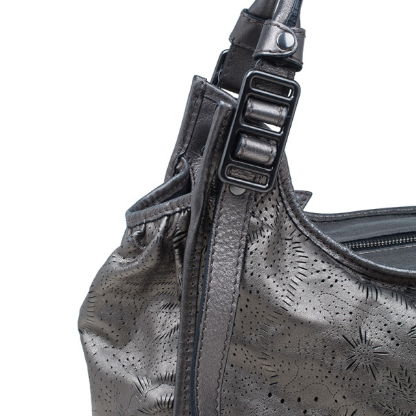 burberry gray bag n8s7  Burberry Metallic Grey Leather Degrade Lace Large Avondale Bag