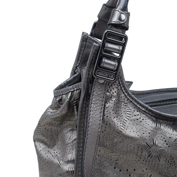 Burberry Metallic Grey Leather Degrade Lace Large Avondale Bag
