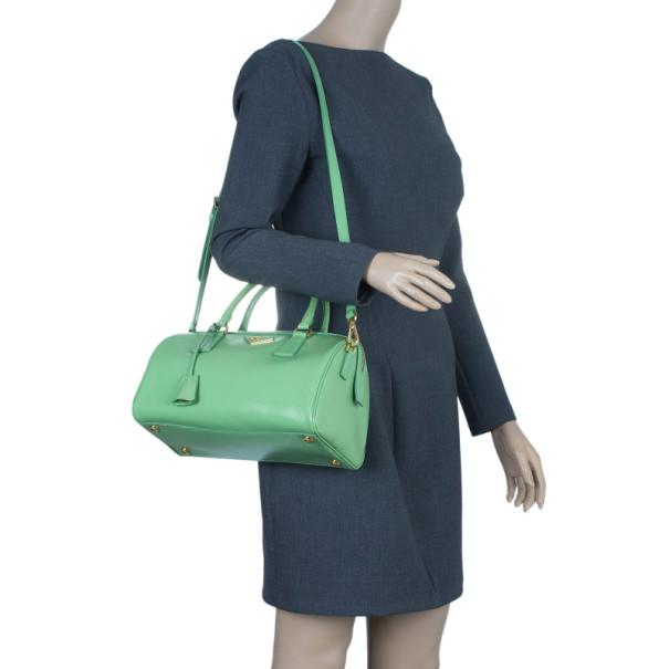 Prada Green Saffiano Lux Convertible Boston Bag