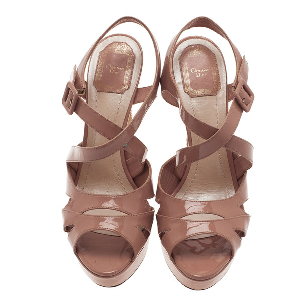 Dior Nude Patent Cannage Heel Platform Sandals Size 40