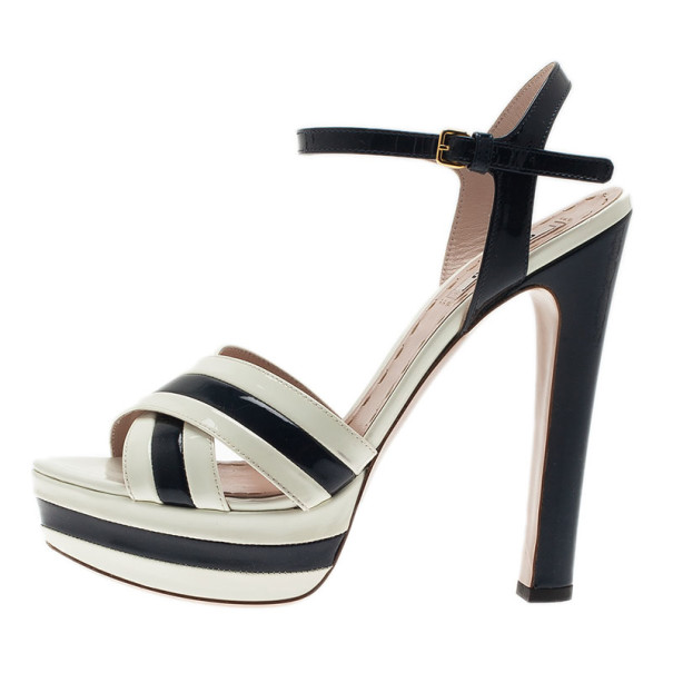 Miu Miu Black and White Patent Leather Platform Sandals Size 39