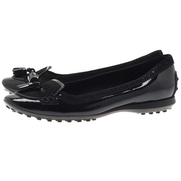 Tod's Black Suede and Leather Tassel Loafer Ballet Flats Size 37