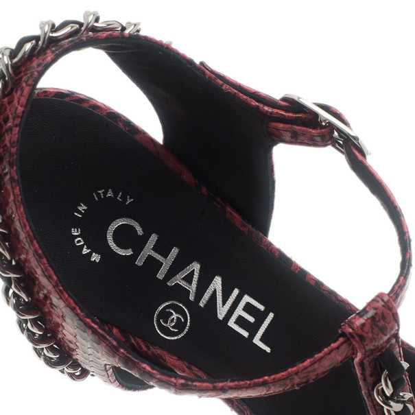 Chanel Red Python Chain Detail T Strap Sandals Size 37.5