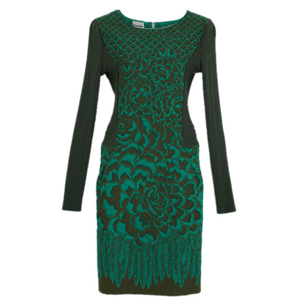 Philosophy di Alberta Ferretti Jacquard and Ribbed Wool Dress M