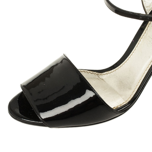 Dolce and Gabbana Black Patent Open Toe Sandals Size 38.5