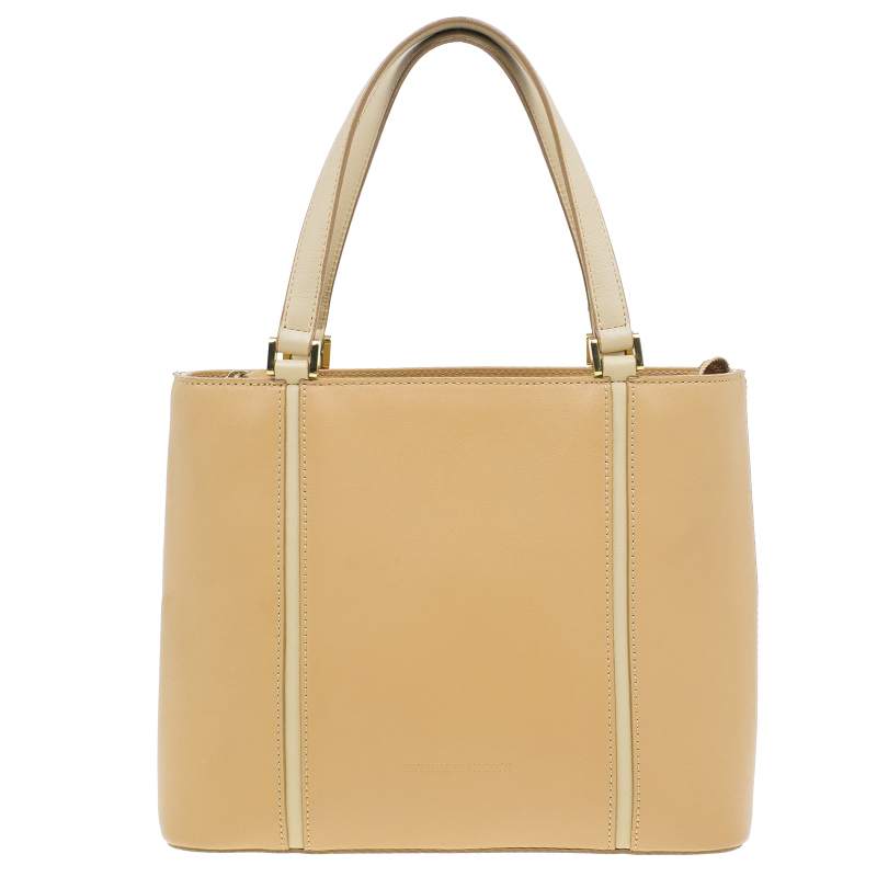 Burberry Beige Calfskin Leather Tote Handbag