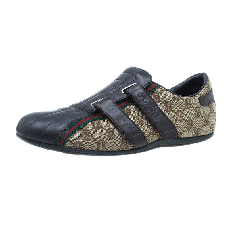 Gucci Brown Guccissima Canvas and Leather Velcro Sneakers Size 44.5