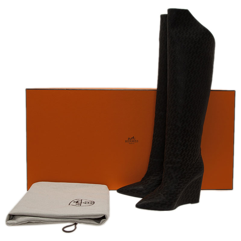 Hermes Black Monogram Leather Wedge Tall Boots Size 36