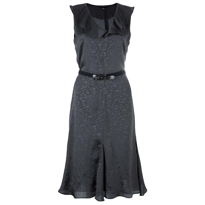 Giorgio Armani Grey Belted Silk Dress M