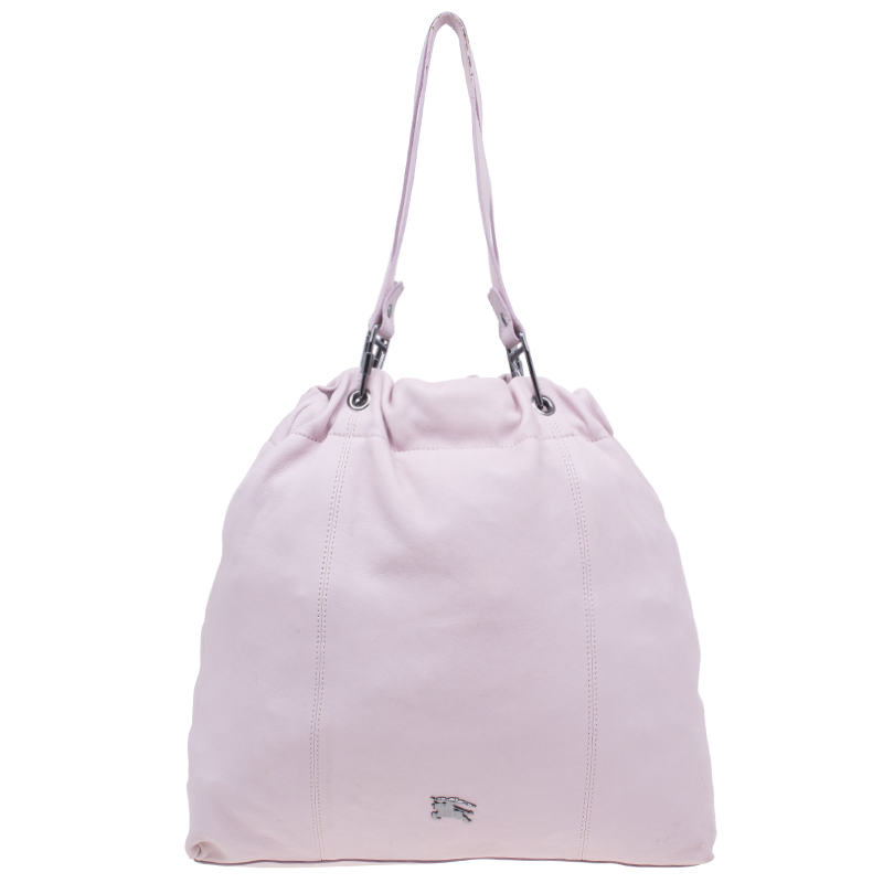 Burberry Pink Leather Drawstring Tote