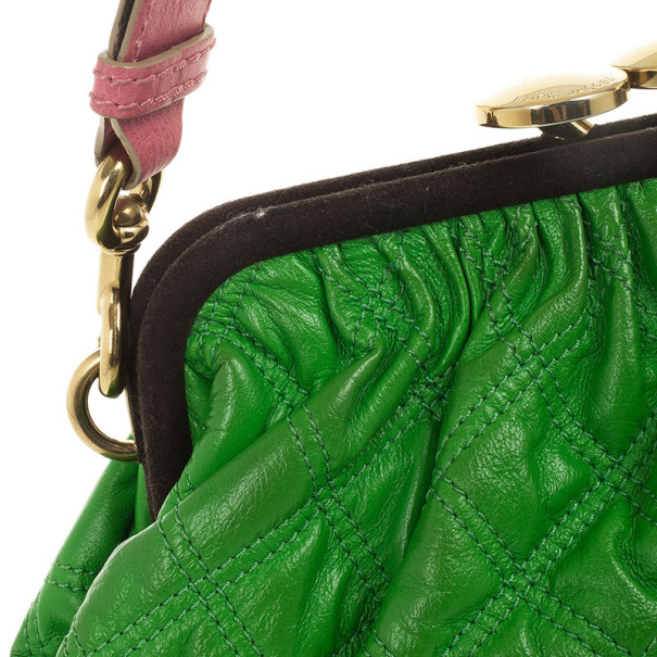 Marc Jacobs Bright Green Quilted Little Stam Bag