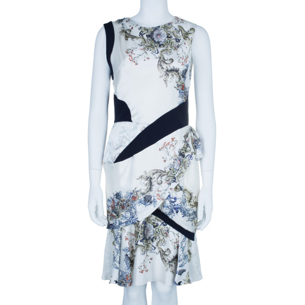 Prabal Gurung Sleeveless Printed Ruched Dress M