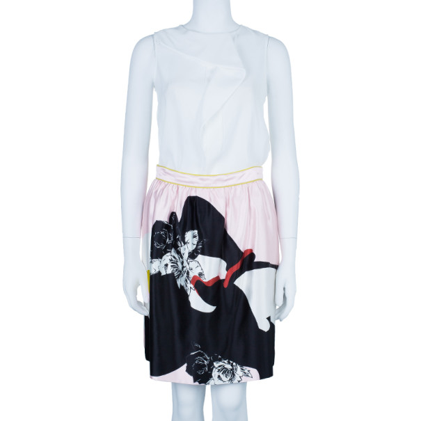 Prabal Gurung Rose Gathered Flounce Skirt M