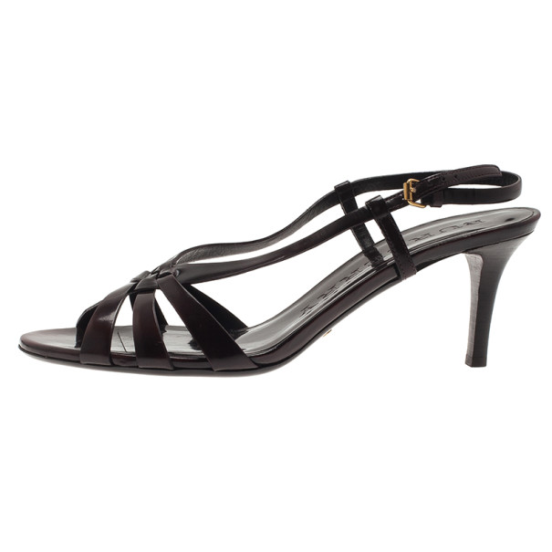 Burberry Brown Patent Leather Knotted Slingback Sandals Size 39