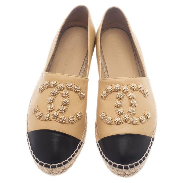 Chanel Beige Leather Camellia Studded Espadrilles Size 38