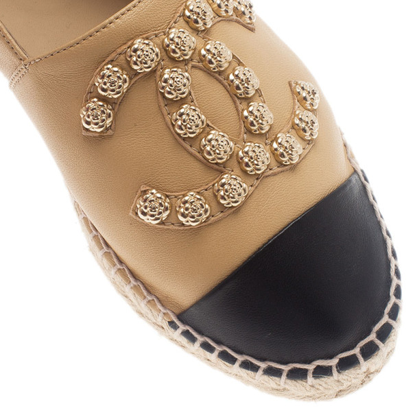 Chanel Beige Leather Camellia Studded Espadrilles Size 38