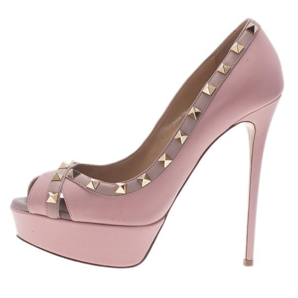 Valentino Pink Leather Rockstud Crisscross Platform Pumps Size 38.5