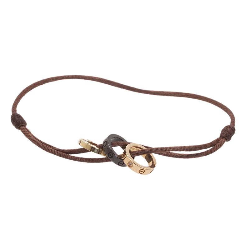 Cartier Love Diamond Brown Ceramic Yellow and Rose Gold 3 Hoops Silk Cord Bracelet