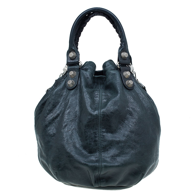 Balenciaga Dark Green Leather Giant 12 Mini Pompon Tote bag
