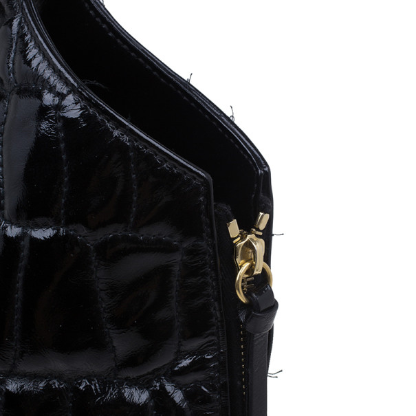 Saint Laurent Paris Black Quilted Patent Leather Tribute Shoulder Bag