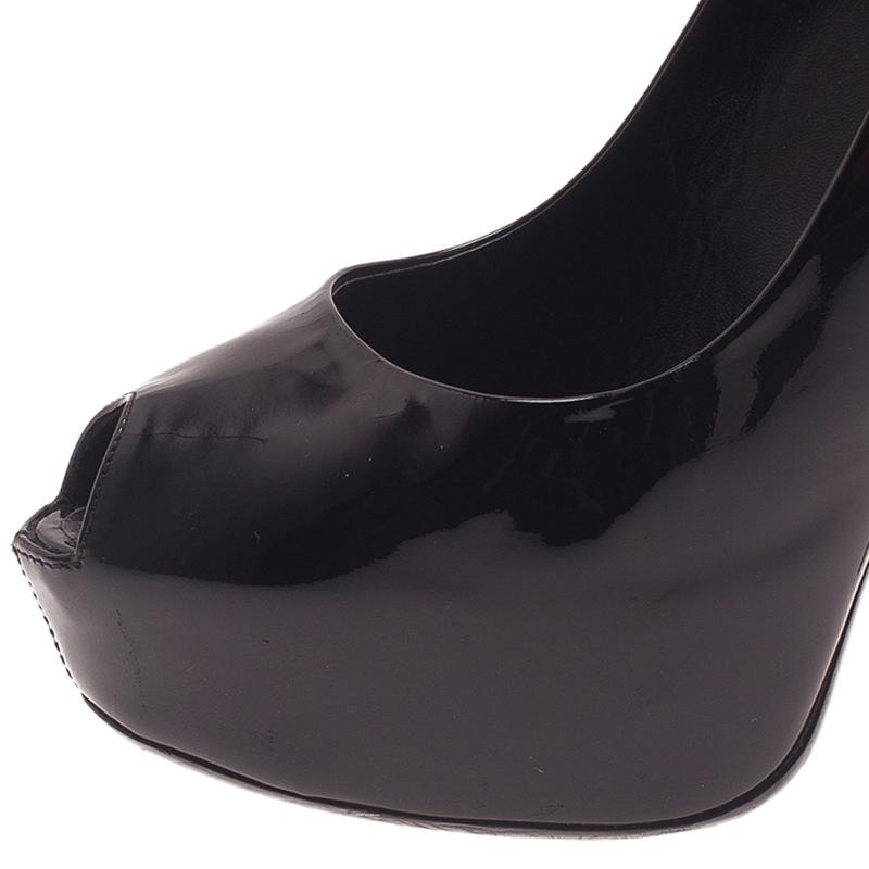 Louis Vuitton Black Patent Oh Really! Open Toe Pumps Size 40