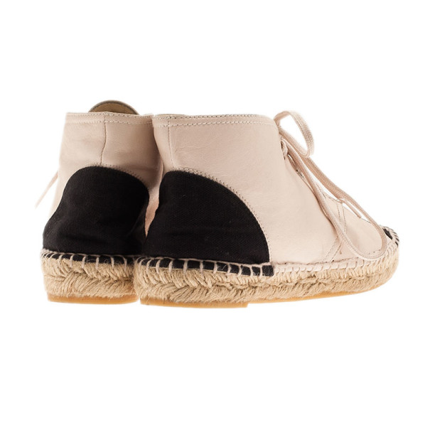 Chanel Beige Leather CC Espadrille Sneakers Size 38