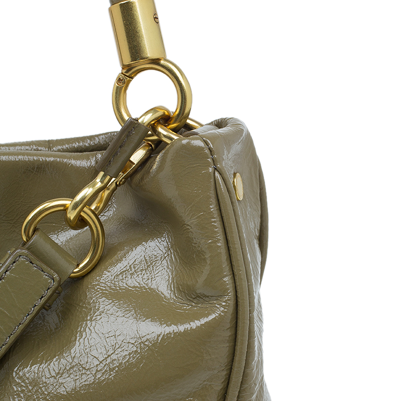 Marc by Marc Jacobs Olive Green Patent Leather Too Hot To Handle Hobo