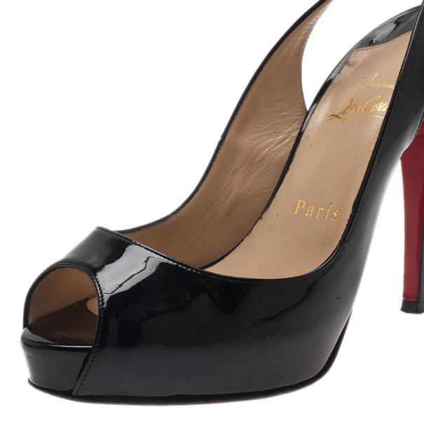 Christian Louboutin Black Patent N°Prive Slingback Sandals Size 37.5