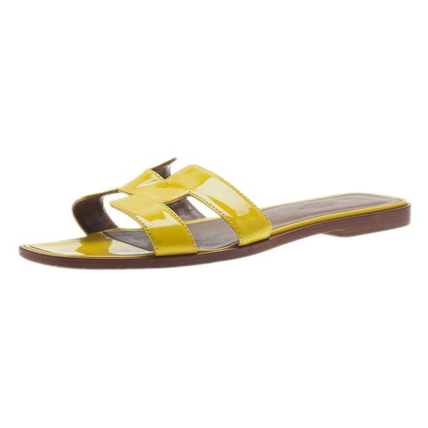 Hermes Yellow Patent Oran Box Sandals Size 37.5
