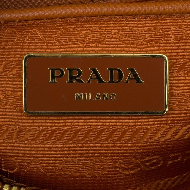 Prada Orange Saffiano Small Double-Handle Trapezoid Tote