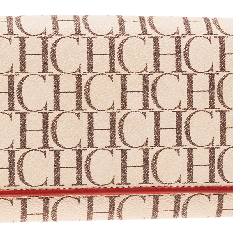 Carolina Herrera Beige Monogram Canvas Continental Wallet