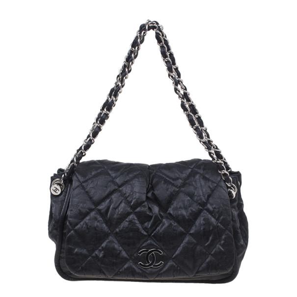 Chanel Black Glazed Leather Medium Bubble Flap Bag