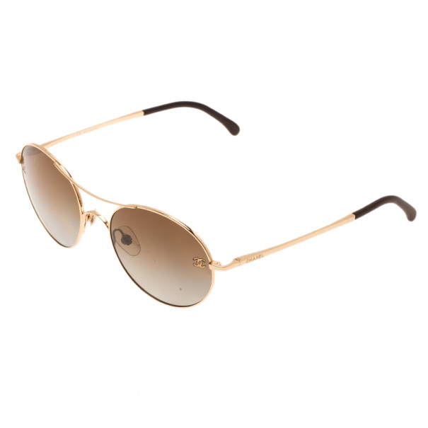 Chanel 4190 Gold Round Aviators