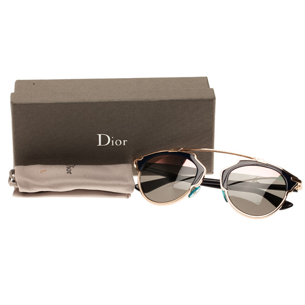 Dior Blue and Gold So Real Round Sunglasses