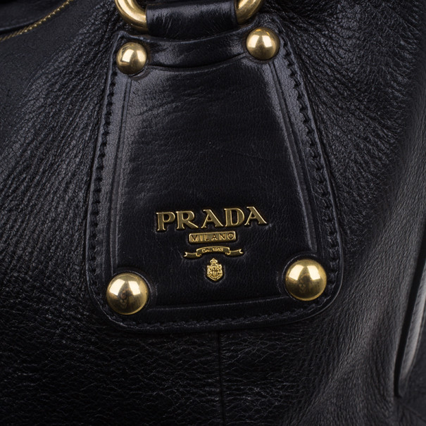 Prada Black Leather Cervo Shine Shoulder Bag