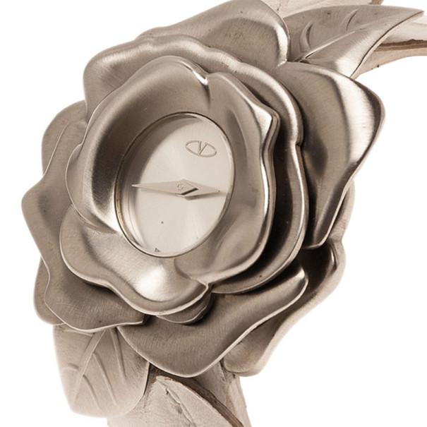 Valentino Silver Stainless Steel Flower Women's Wristwatch 46MM
