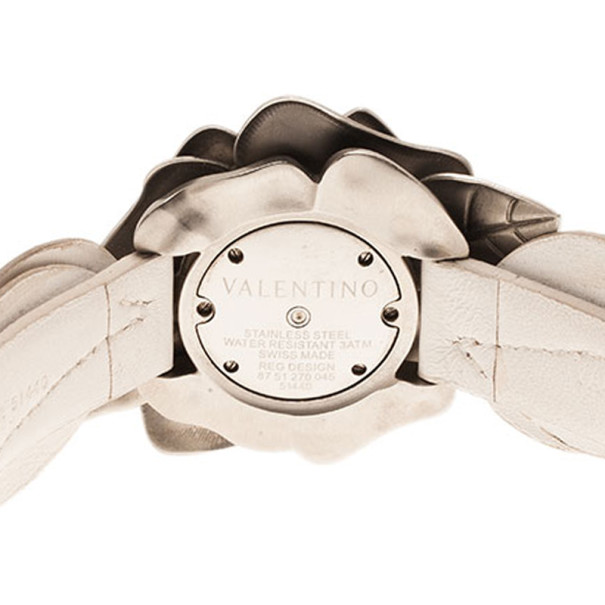 Valentino Silver Stainless Steel Flower Women's Wristwatch 46MM