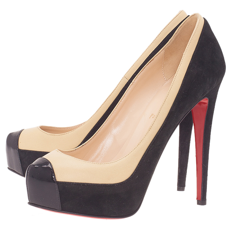 Christian Louboutin Two Tone Leather and Suede Mago Cap Toe Platform Pumps Size 38.5