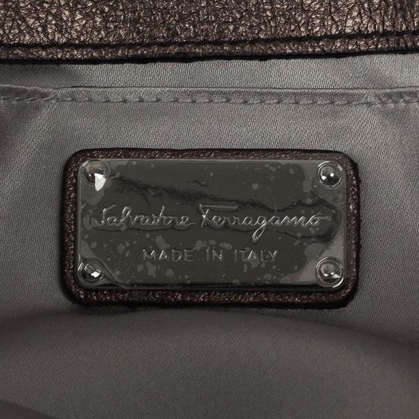 Salvatore Ferragamo Bronze Leather Clutch