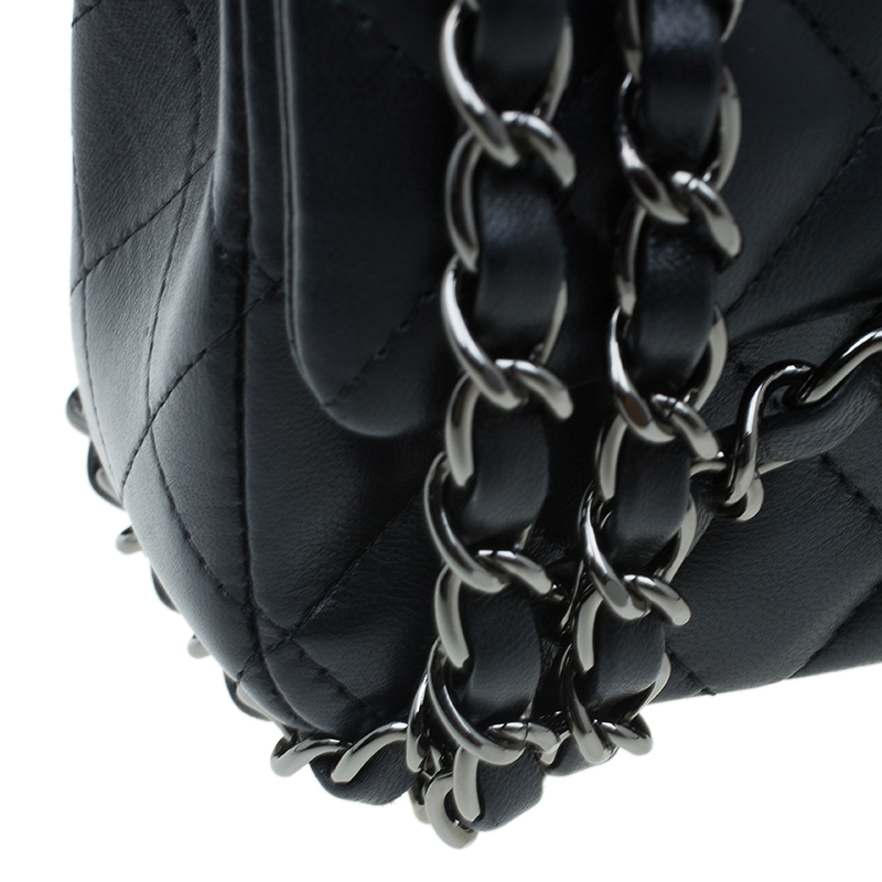 Chanel Black Quilted Leather New Mini Classic Single Flap Bag