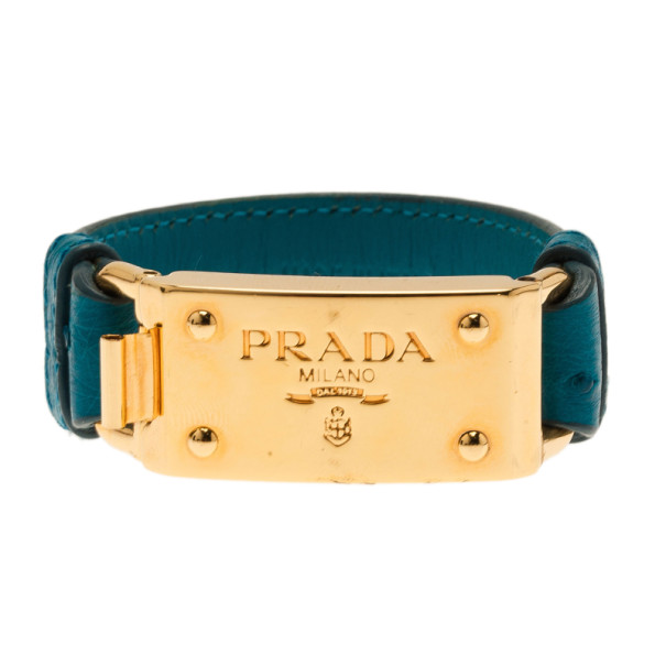 Prada Ostrich Gold-Plated Blue Leather Bracelet 17CM