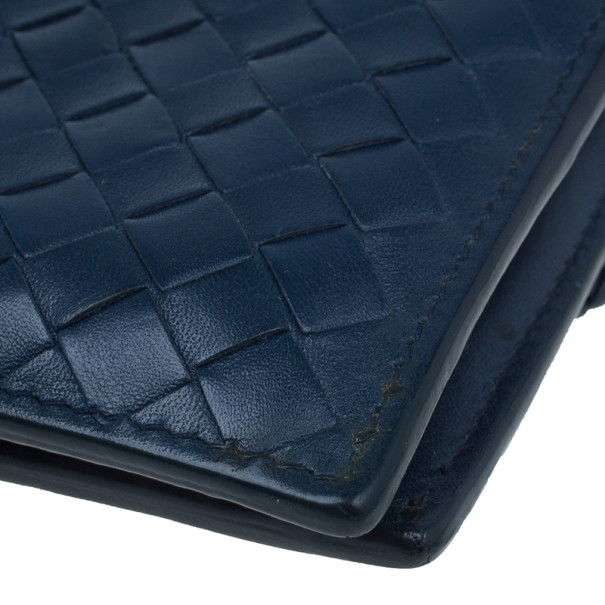Bottega Veneta Navy Blue Intrecciato Leather Compact Wallet