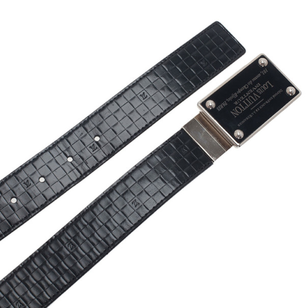 Louis Vuitton Black Damier Embossed Inventeur Belt 90CM