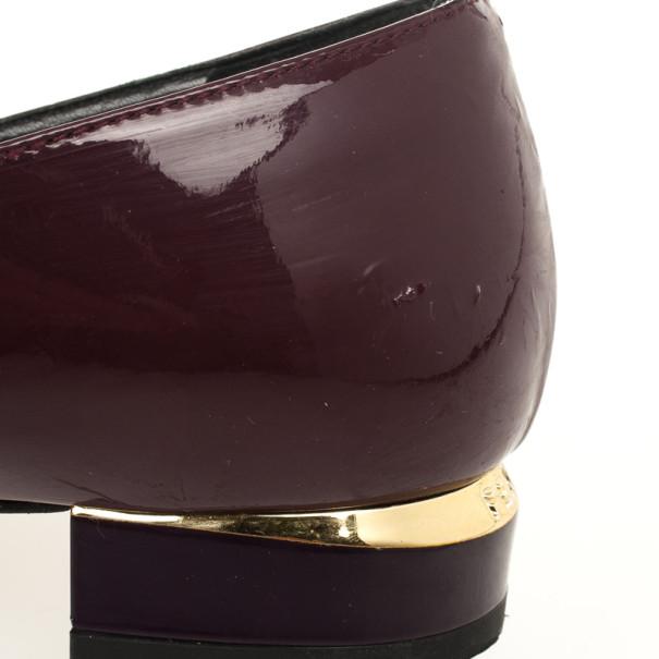 Fendi Burgundy Patent Bow Details Ballet Flats Size 39