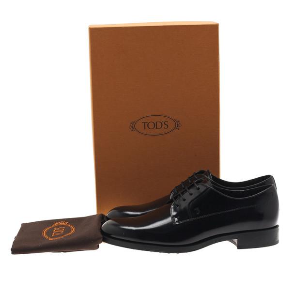 Tod's Black Glazed Leather Oxfords Size 37.5
