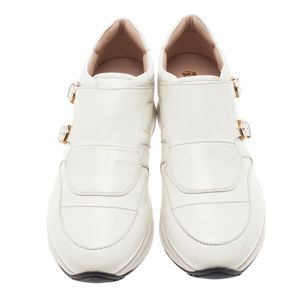 Tod's White Leather Buckle Detail Sneakers Size 38.5