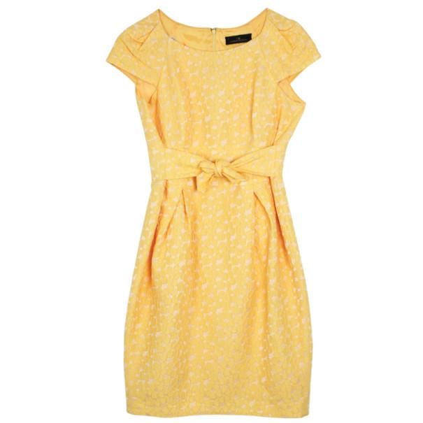 Carolina Herrera Yellow Cotton Lace Dress M